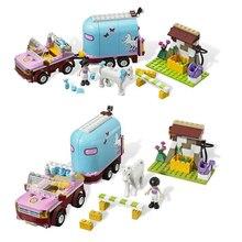 10161 Friends Horse Girl Emma's Trailer Building Brick Blocks Compatible 3186 Friends Heartlake Set Toys Girls Gift