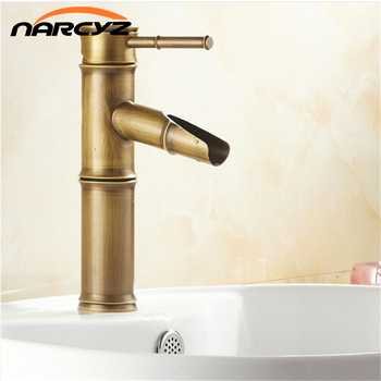 Bamboo shape faucet Basin Mixer Taps Antique Brass Finished Hot and Cold Mixer Taps Deck Mounted basin tap torneira XT906 - DISCOUNT ITEM  20% OFF Home Improvement