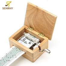 Senrhy DIY Music Box Hand-cranked Wooden Box With Hole Puncher And Paper Tapes Musical Instrument Clarinet Harmonica Saxophone