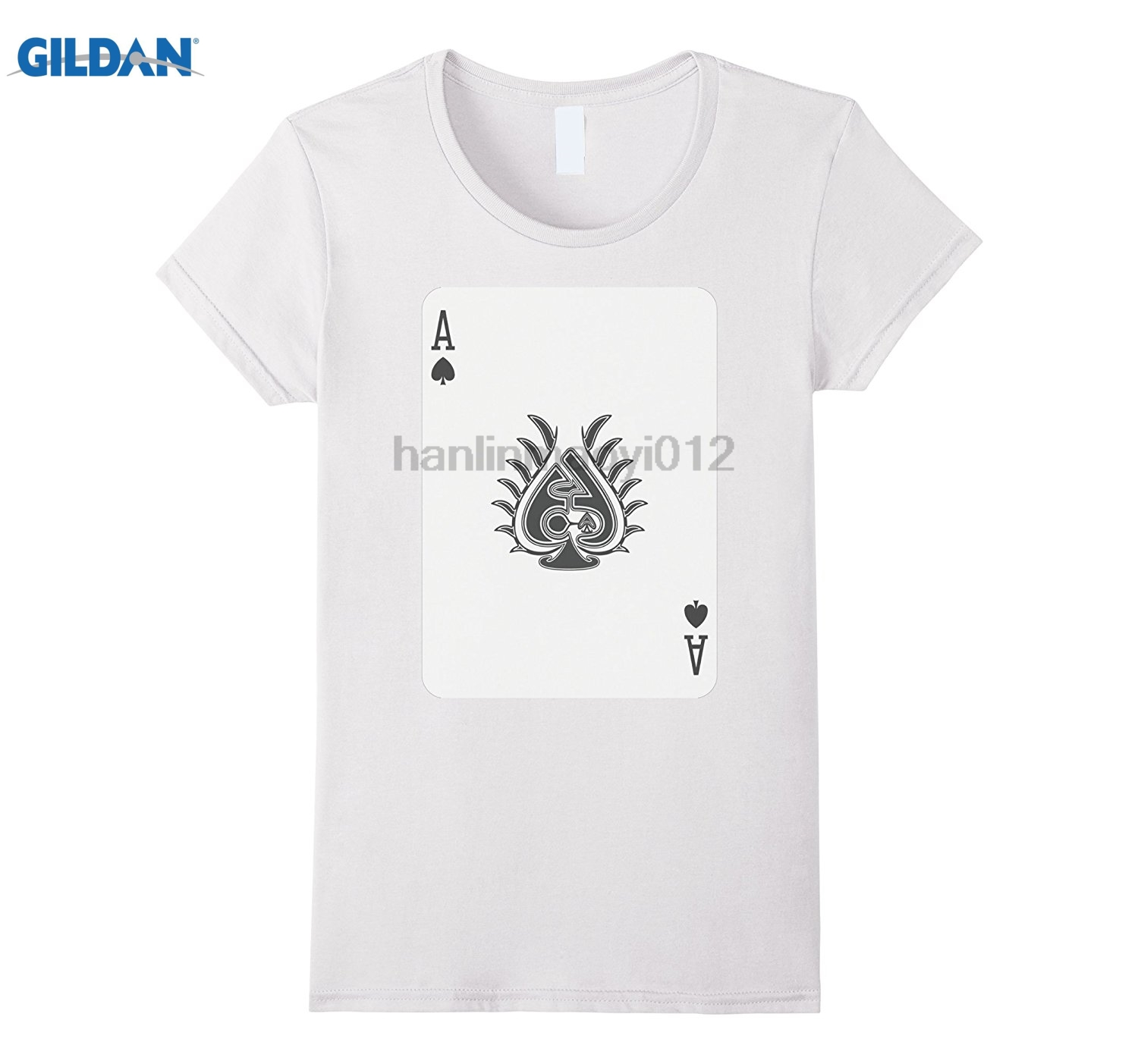 GILDAN Ace Spades T-Shirt Play Win Poker Lucky Player Luck Costume Cotton round neck jud ...