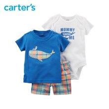 3pcs cute whale top plaid shorts slogan bodysuit clothing sets Carter s baby Boy soft cotton