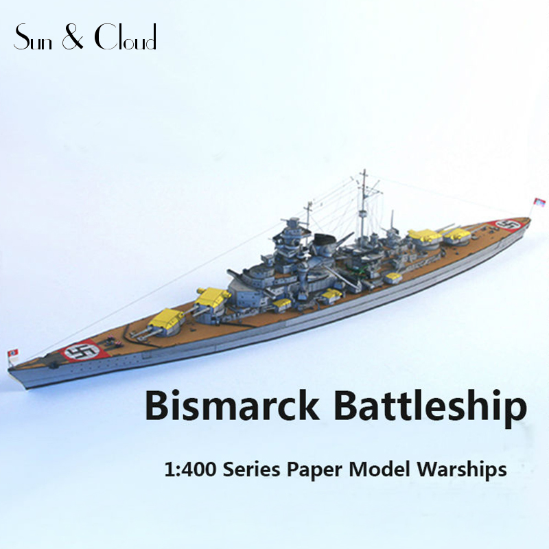 1:400 DIY Bismarck Battleship,Cardboard/Karton/paper Model,PUZZLE 3D Toys/Cubic Kids Toys
