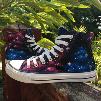 Wen Design Custom Original Hand Painted Shoes Blue Red Galaxy Space Nebula Men Women's High Top Canvas Sneakers
