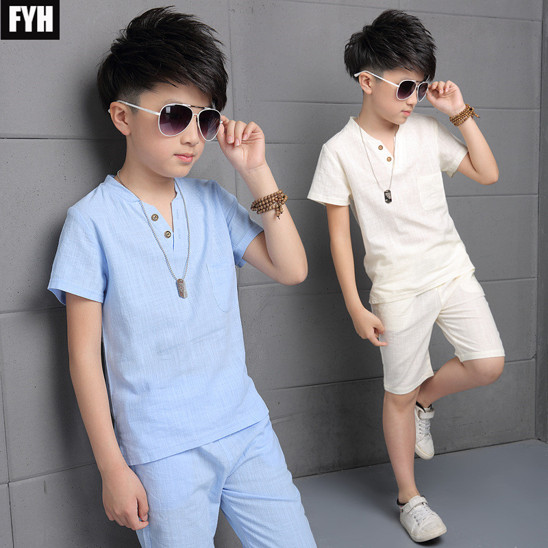 FYH 2018 Boys Summer Clothing Set Cotton Linen T-Shirt+Shorts Children Boys Summer Clothes Sets Baby Boys Suit Set Kids Clothing