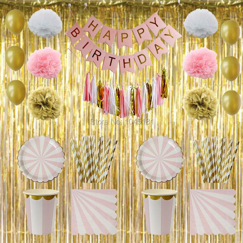"""Pink Feliz Aniversário Festa Banner E Ouro Folha Cartas Papel Tecido Pom Pom/"""""""