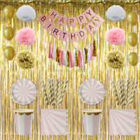 Pink Gold Girl Happy Birthday Banner Foil Tinsel Curtain Tassel Garland Paper Pompoms Party Striped Tableware Paper Plates Cups