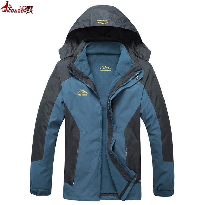 Plus Size L~6XL,7XL,8XL Outwear Waterproof Windproof Breathable Warm Winter Coat Men Parka 2 In 1 Snow Ski Jacket Male Clothing