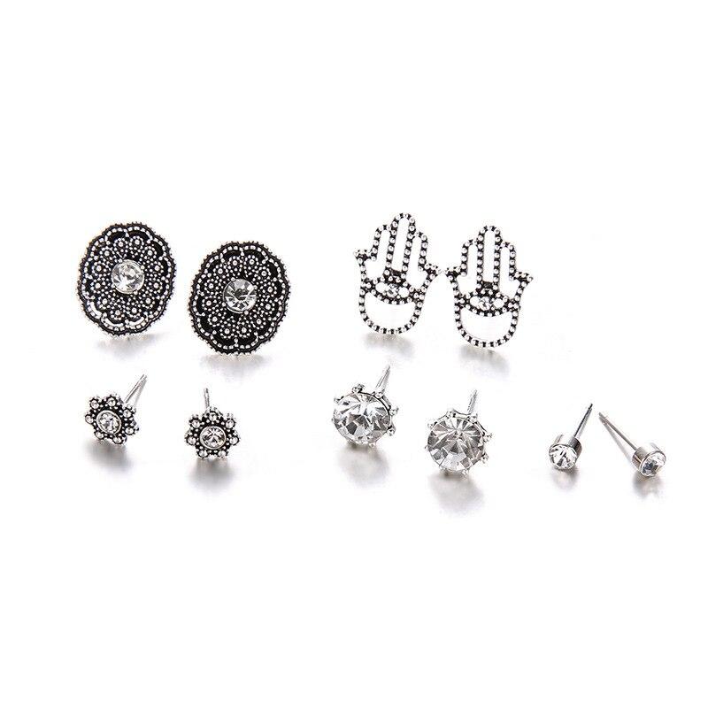 aebf31f0f9b1 Ala yuk tak 5 par set pendientes Vintage hermoso Color plata joyería de moda  redonda cristal ahuecado flores pendientes mujeres. Proveedor Promis