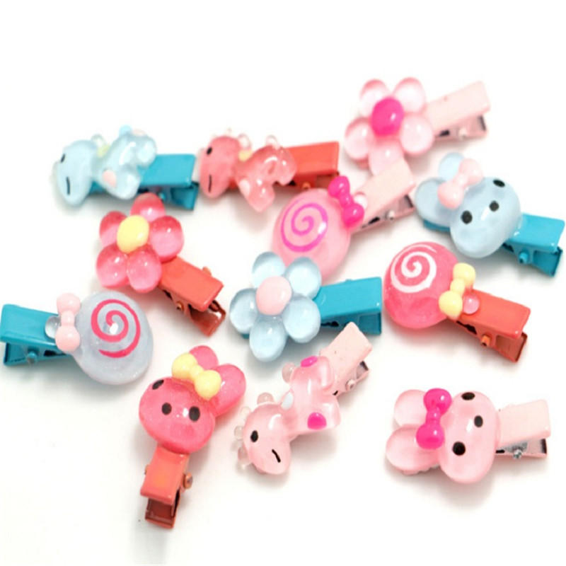 2017 Kawaii Hairpins Bow Flower Hair Clip Headband Kids Rabbit Hair Accessories Resin Candy Color Girl Barrettes 6 Pcs