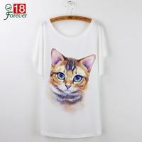 Harajuku Cute Cat T-Shirts Women T shirt 2017 Summer Ladies Tops White Animal Print Tees Batwing Sleeve O-neck Camisetas Mujer