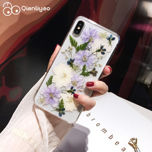 Qianliyao Real Pressed Dried Flowers Phone Case For iPhone X XS Max XR 6 6s 7 8 Plus 11 Pro Soft TPU Clear Floral Cover