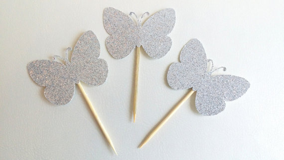 glitter sillver butterfly cupcake toppers bachelorette party hen