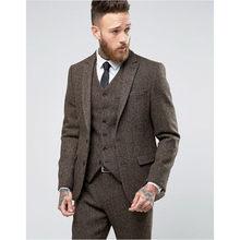 2017 Custom Made Brown Tweed Suit Mens Formal Skinny Wedding Tuxedo Gentle Modern Blazer 3 Piece