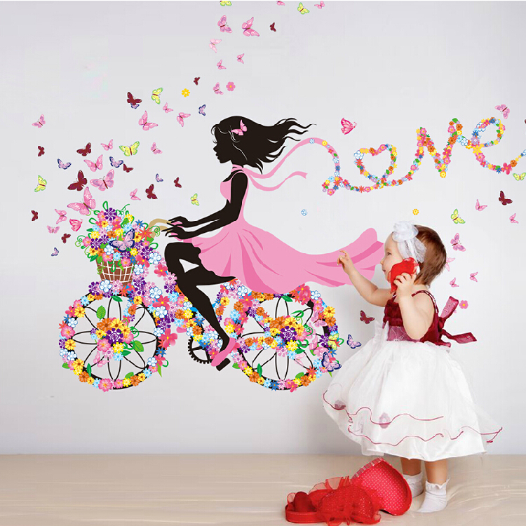 Diy Wall Stickers Home Decor Pink Princess Cycling Sticker Bedroom Living Room Background Decoracion Hogar In From