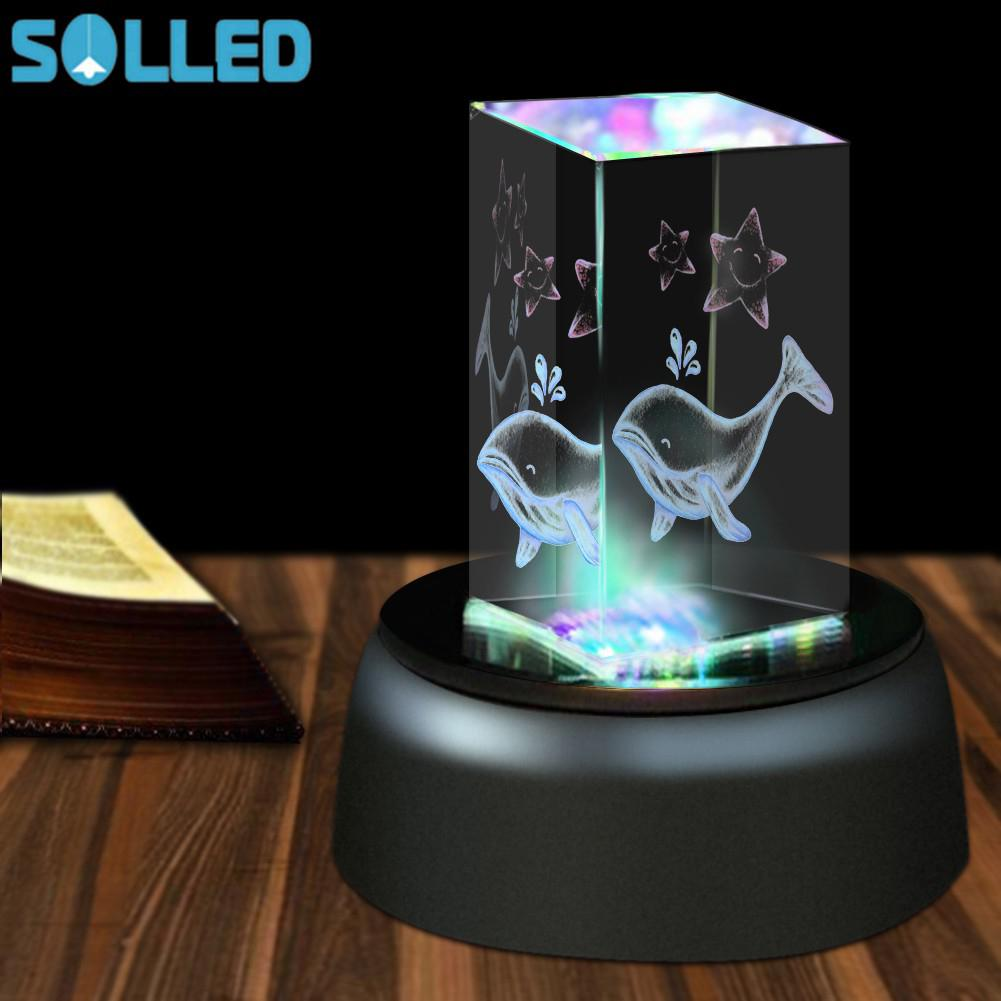 SOLLED 4 LED Colorful Luminous Base Light Round Stand Holder For Cocktail Crystal Glass Transparent Objects Display
