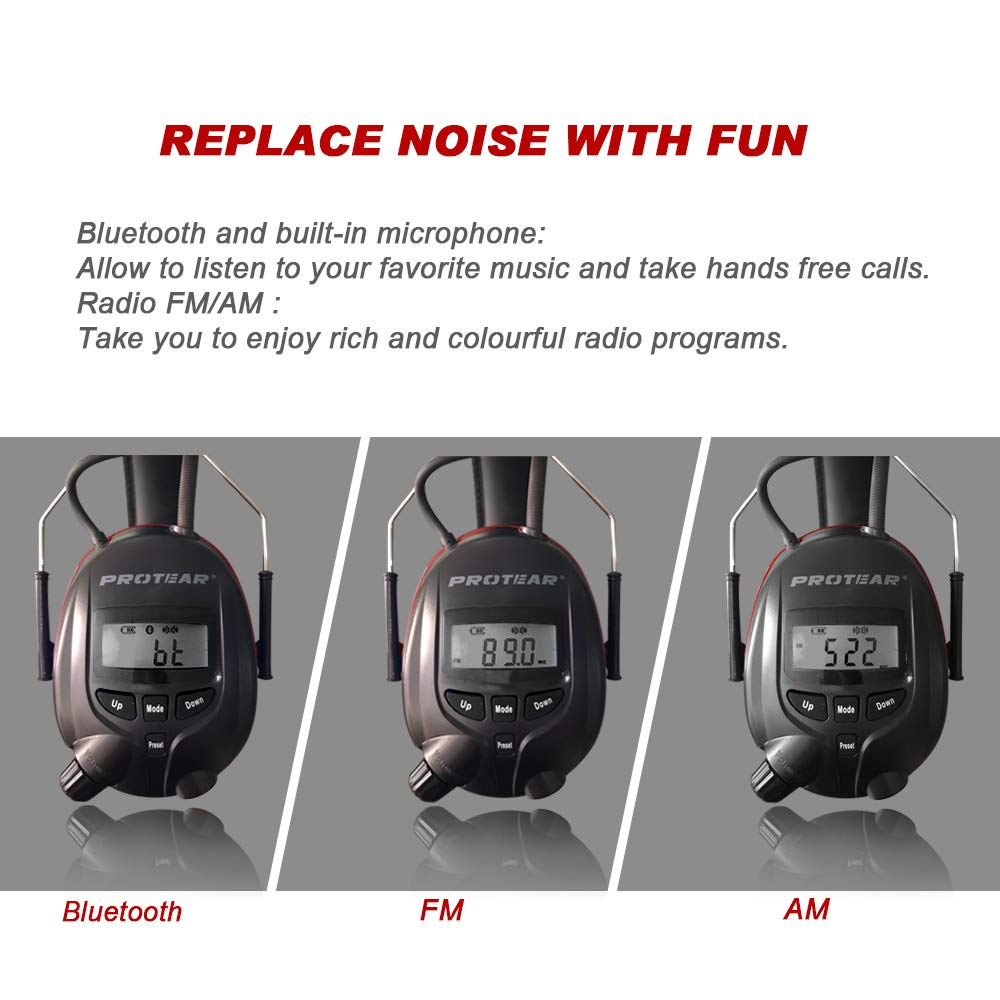 Image 2 - Protear 1200mAh Lithium Battery NRR 25dB Hearing Protector Bluetooth AM/FM Radio Earmuffs Electronic Ear Protection-in Ear Protector from Security & Protection