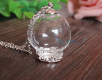 free shipping!!! 25mm(opening 15mm) clear glass globe pendant with 20mm silver plated crown base&cap