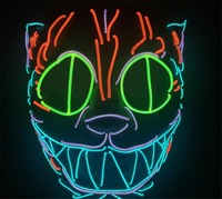 New Design Glowing Cat mask Halloween face mask children toys LED masks festival Neon Light Party Decoration A2247c