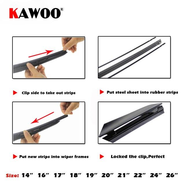 """KAWOO voiture véhicule insérer bande de caoutchouc lame d'essuie-glace (recharge) 8mm doux 14 """"16"""" 17 """"18"""" 19 """"20"""" 21 """"22"""" 24 """"26"""" 28 """"1 pièces accessoires 4"""