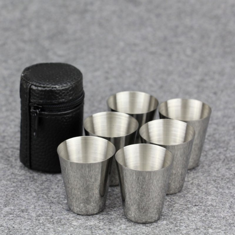 6pcs 30ml Outdoor Practical Stainless Steel Cups Shots Set Mini Glasses Travel Whisky Wine Portable Drinkware Set Coffee Mug Cup Кубок