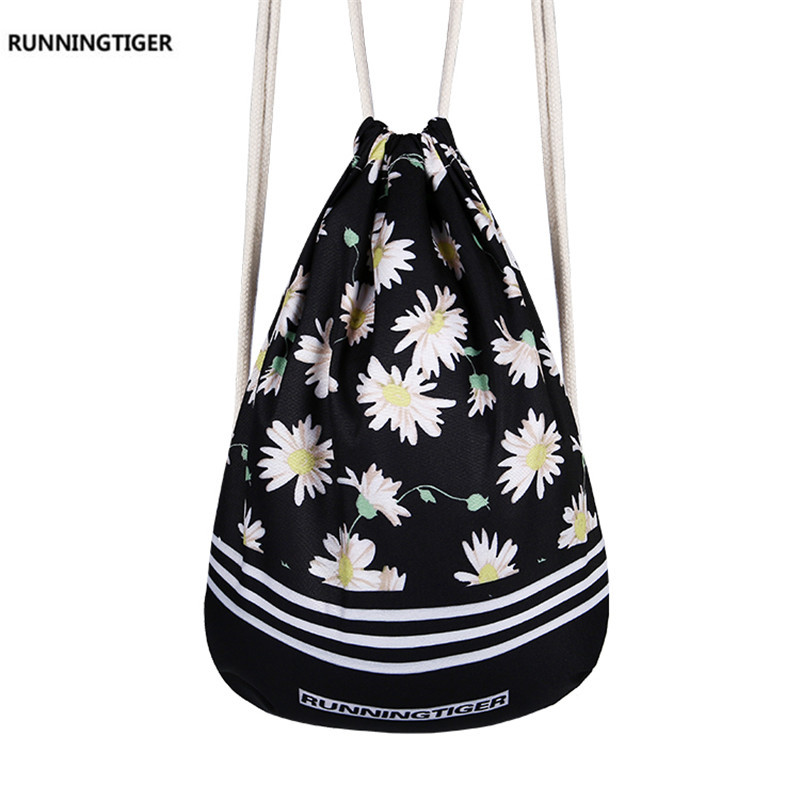 Fresh Floral Printing Drawstring Bag Kids Travel Backpack School Bags For Teenagers Back Bag Girls Backpack Shopping Bag Mochila children school bag minecraft cartoon backpack pupils printing school bags hot game backpacks for boys and girls mochila escolar