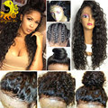8A Cabelo Humano Full Lace Wigs Para As Mulheres Negras Brasileiras 360 Completo Peruca do laço Frontal Com o Cabelo Do Bebê Curly Parte Dianteira Do Laço Perucas de Cabelo Humano