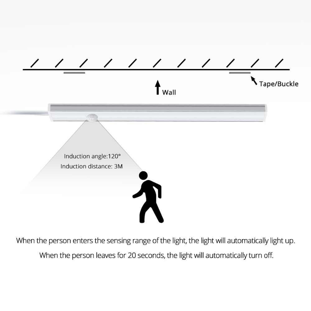 DC 12 В PIR светодиодные светильники с сенсором движения тела Авто Вкл/Выкл бар лампа 30 см 40 см 50 см для кухонного шкафа шкаф движения сенсор светодиодный