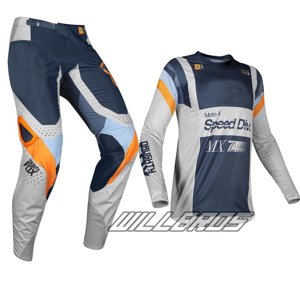 2019 Racing 360 Murc MX ensemble de vitesse gris clair combinaison de Motocross vélo de saleté Sport Jersey pantalon Combo