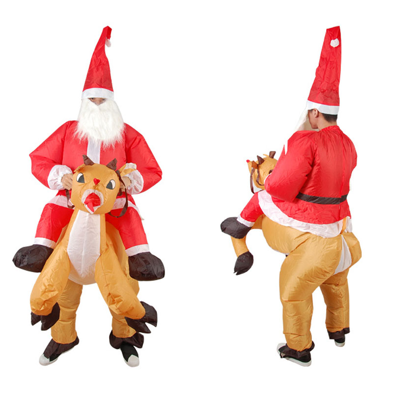 Inflatable Santa Claus Ride Reindeer Costume Mascot Halloween Costume Adult Fancy Dress Up Oktoberfest Party Halloween Costume