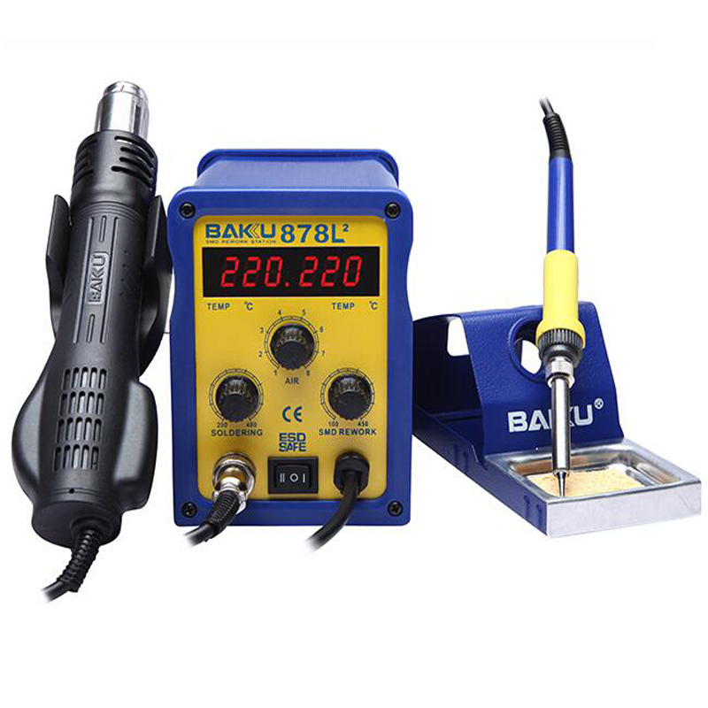 ФОТО 2pcs BAKU BK-878L2 led digital Display SMD Brushless Hot Air Rework Station + Soldering Iron and Heat Gun for Cell Phone Repair