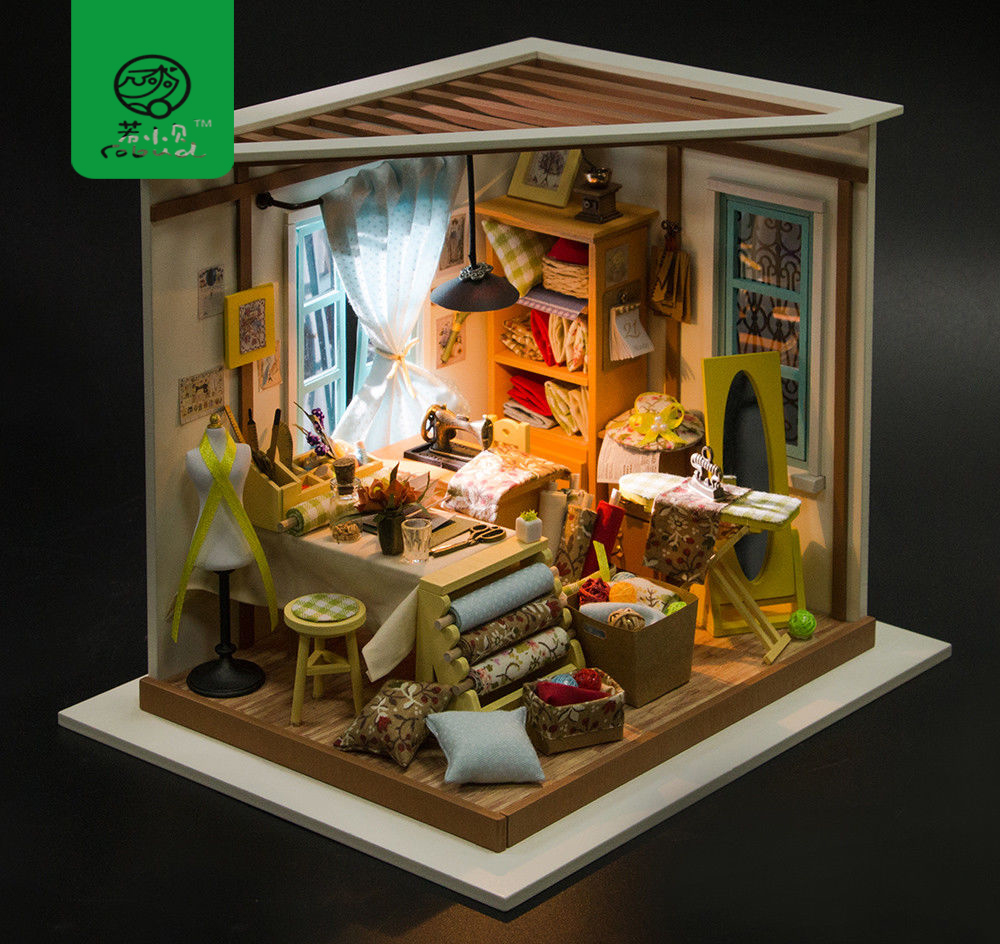 Robud Diy Dollhouse With Furniture Light Wooden Miniature