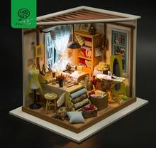 Robud DIY Dollhouse with Furniture & Light Wooden Miniature Dollhouse Kits Toys for Children Girls Gift Lisas Tailor DG101