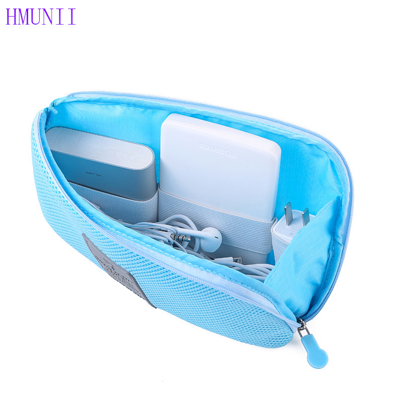 HMUNII Travel nylon Business Digital Storage Package Multifunction Power Data Cable Charger Cosmetic Bags Portable Finishing Bag multifunction nylon pet storage bag cosmetic bag pink grey