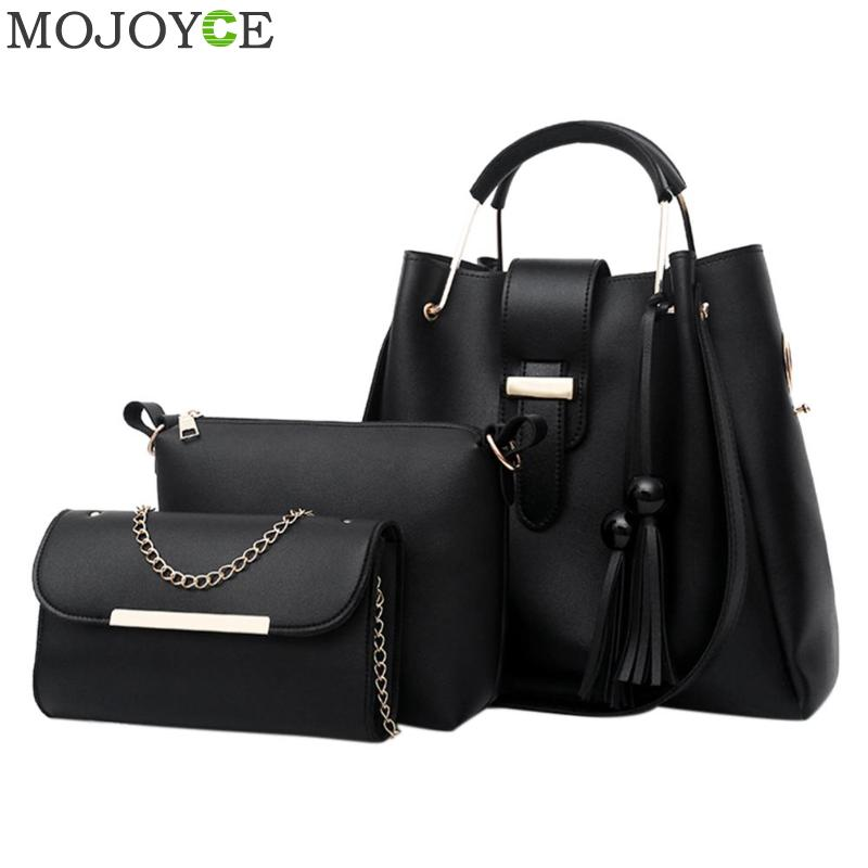 3pcs/set PU Leather Lady Handbag Brand Fashion Tassels Messenger Bags for Women Large Shoulder Bag 2018 Female Bucket Handbags women bag fashion casual totes bag 2 sets for girls pu leather handbag designer women s shoulder messenger bags lady bucket bag