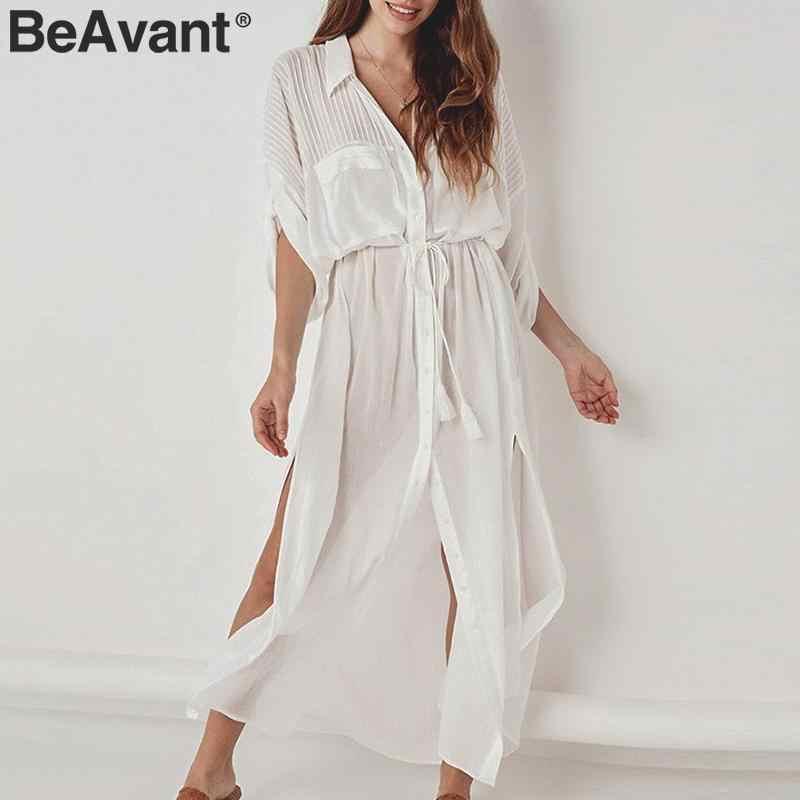 BeAvant minimaliste blanc coton robe de plage femmes lacer droit femme chemise robes vacances ample couverture dames robes