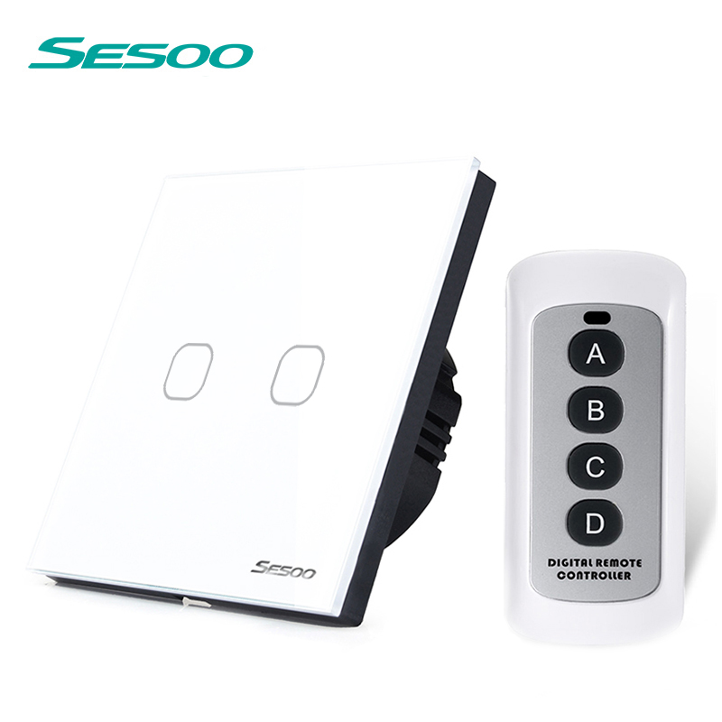EU/UK Standard Remote Control Light Switches,SESOO  2 Gang 1 Way Crystal Glass Panel Remote Touch Wall Switches For Smart Home funry eu uk standard 1 gang 1 way led light wall switch crystal glass panel touch switch wireless remote control light switches