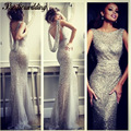 Hot Sexy Silver Long Party Dress Elegant Mermaid Sequins Club Floor Length Open Back Long Fishtail Dress Formal Evening Gowns