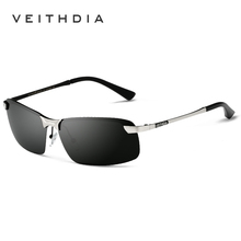 Мужские солнцезащитные очки VEITHDIA, брендовые дизайнерские очки с поляризационными стеклами без оправы, модель 3043