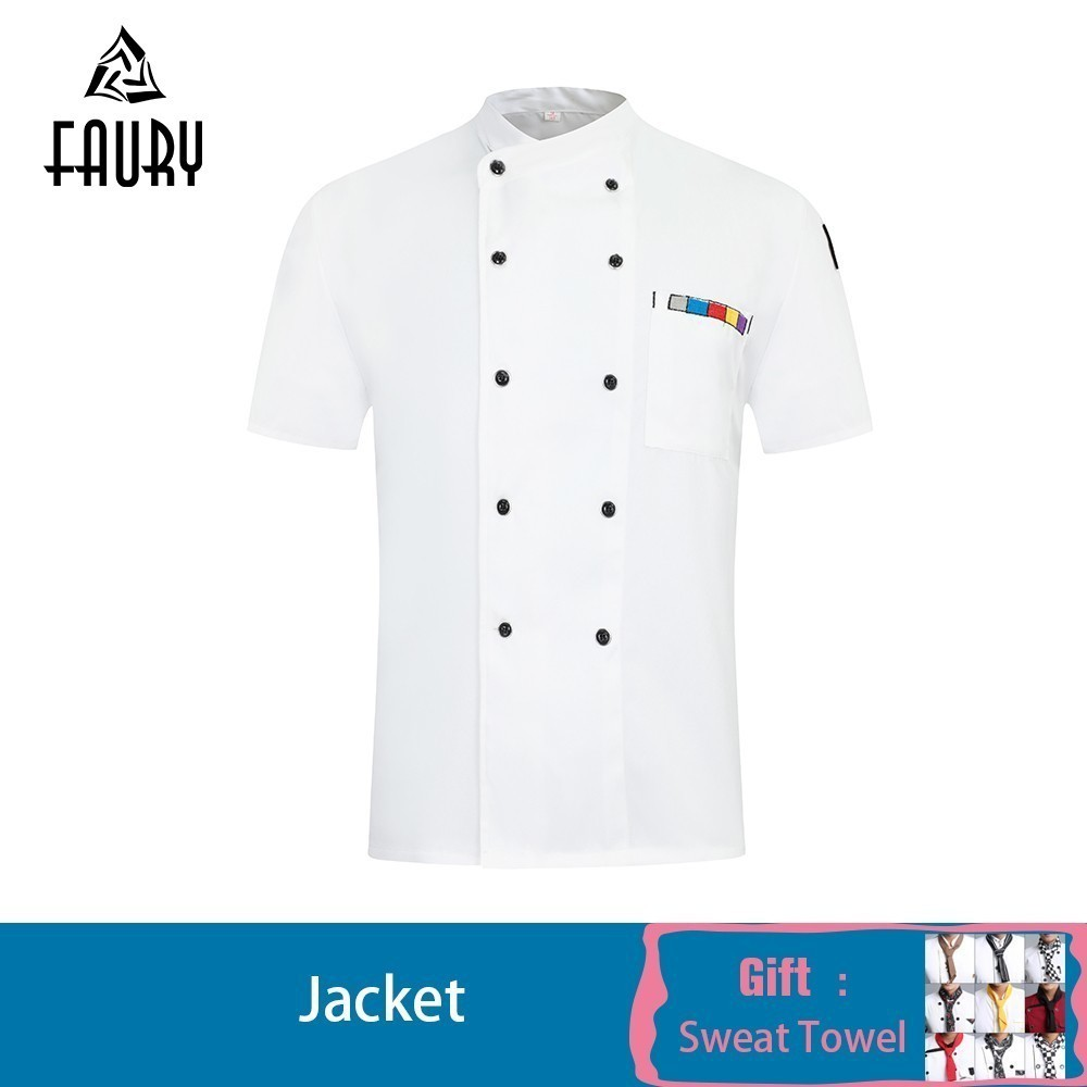 Wholesale Chef Jacket Summer Uniform Jaleco Maid Hotel Canteen Cake Bakery Chaquetilla Cocinero Hombre Teahouse Work Clothes
