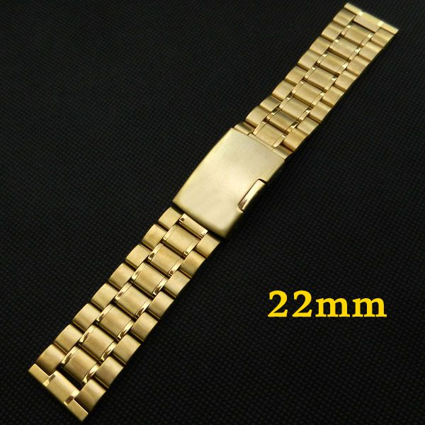 Golden 22mm Stainless Steel Watch Band Strap Fold over clasp with one push button  With Safety Men Women Replacement GD011322 электронный конструктор знаток 999 схем школа 10шт знаток