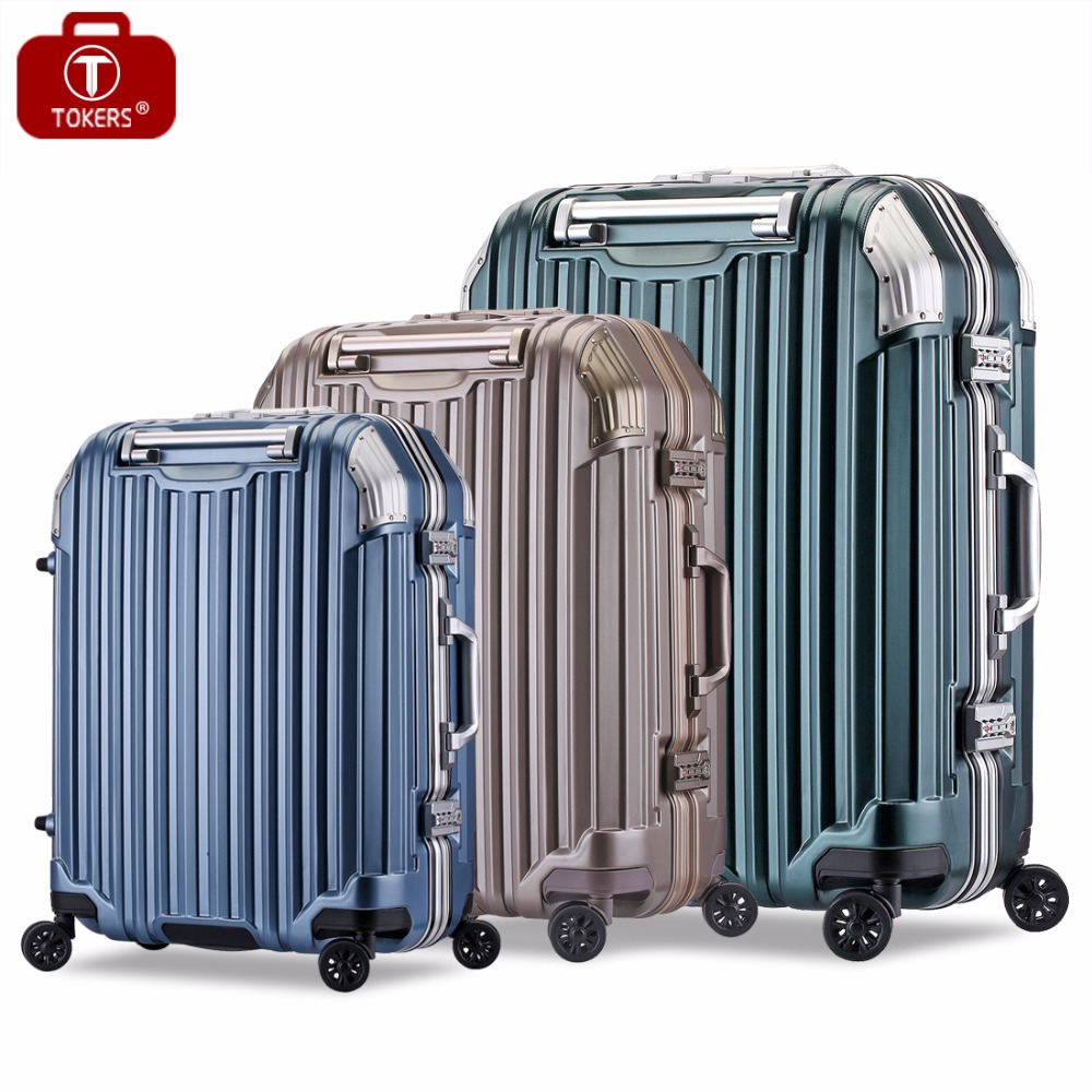 Tokers Suitcase on wheels Rolling travel Carry on Luggage hand  Trolley bag Case 20inch 24inch 28inch travel aluminum blue dji mavic pro storage bag case box suitcase for drone battery remote controller accessories