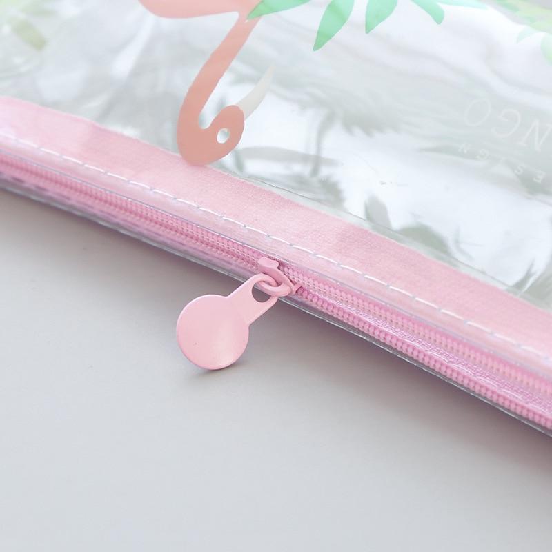 ba86d7e9a Comprar Lindo estuche de lápices flamenco suministros escolares bolsa de  lápices transparente chica Kawaii estudiante papelería pencilcase caja de  lápices ...