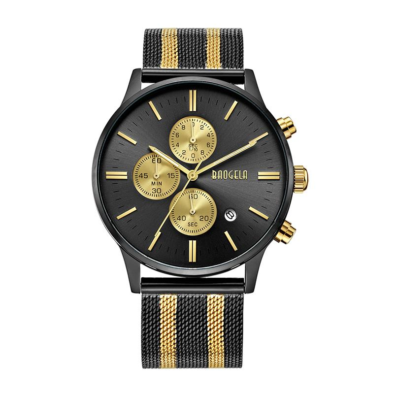 BAOGELA Chronograph Men's Quartz Watch Stainless Steel Mesh Band Watches Slim Men Watches Multi Function Sports Wristwatch 161