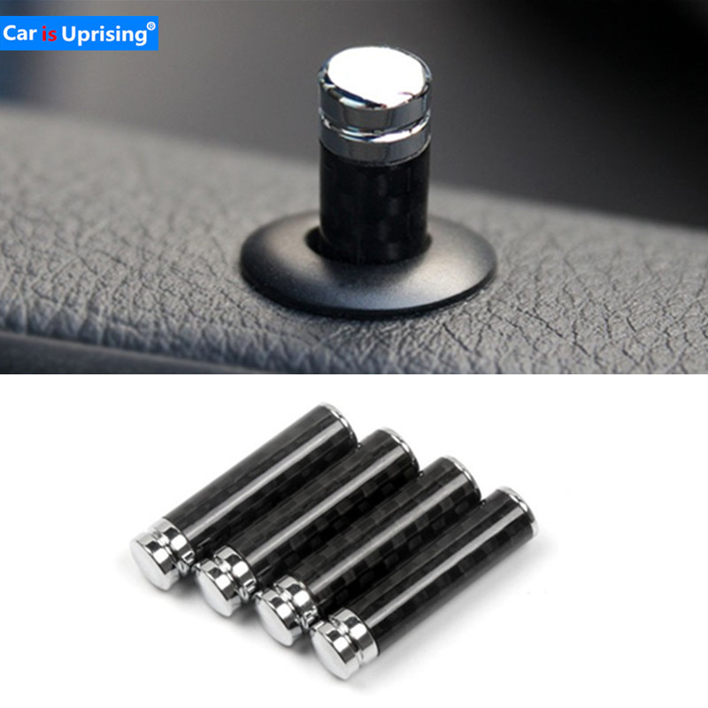 4pcs/1set carbon fibre Car Lock Modified Door Pin for <font><b>Volvo</b></font> V40 <font><b>V50</b></font> V60 V70 S80 XC40 XC60 XC90 S60 S90 Car <font><b>styling</b></font> accessory image