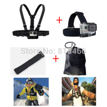 4in1 Gopro Hero Accessories Set gopro Chest Belt Head strap hand strap Store bag for Go pro hero3 Hero2 3+ Sj4000 Free Shipping