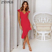 ZYFPGS 2019 New Ladies Long Dress Solid Wavy Edge Womans Casual Sexy Fashion Slim Asymmetry Personality Sales Hot Z1231