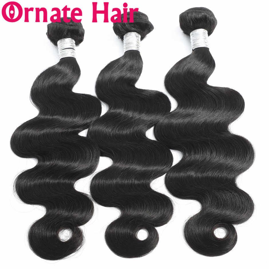 Ornate Body Wave человеческие волосы пучок s с бразильские волосы с закрытием переплетения пучок с закрытием не Реми волосы пучок с кружевом