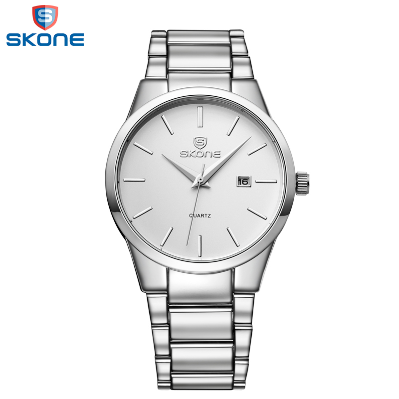 SKONE 2017 Top Brand Business Men Male Luxury Watch Casual Full steel Calendar Wristwatches quartz watches relogio masculino