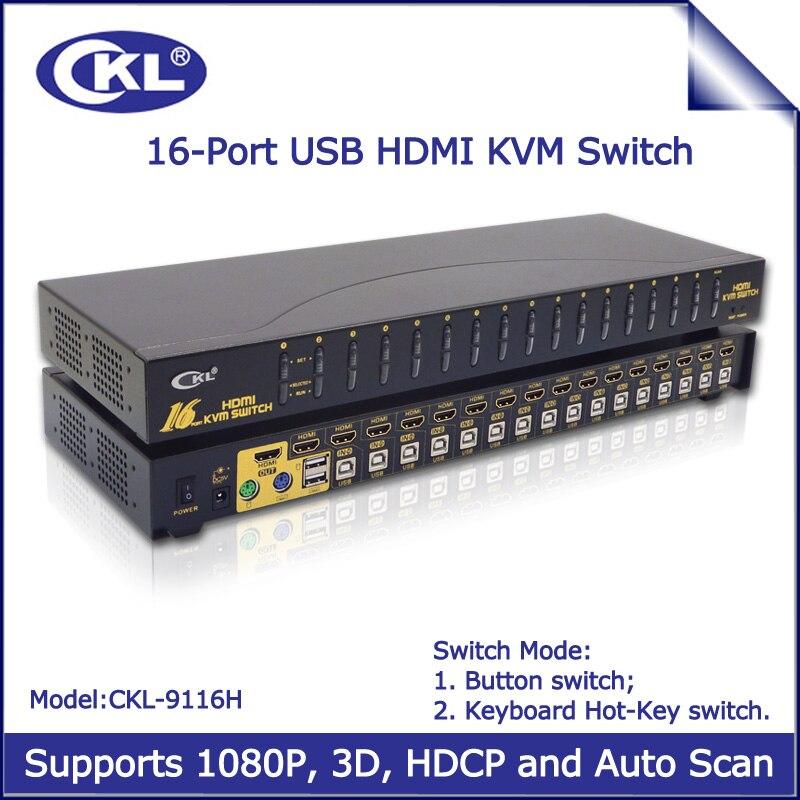 CKL-9116H USB Auto HDMI KVM Switch 16 Port for PC Monitor Keyboard Mouse Computer Server DVR NVR 3D 1080P ckl usb ps 2 osd vga kvm switch 16 port rackmount switcher for pc monitor keyboard mouse cctv dvr ckl 9116up