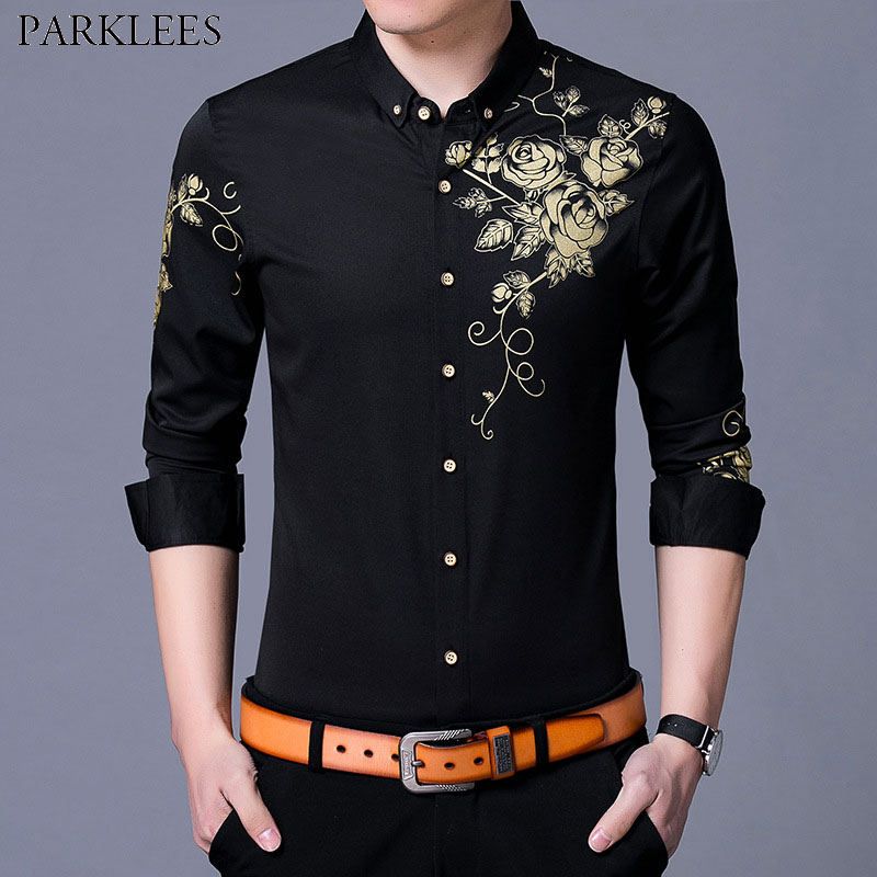 Golden Flower Printing Shirt Men Slim Fit Chemise Homme 2018 Brand New Mens Long Sleeve Button Down Dress Shirts Camisa Social